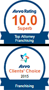 Avvo client's choice award top Franchising Attorney